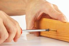 La mano del riparatore avvita in blocco di legno con il primo piano del cacciavite Fotografia Stock