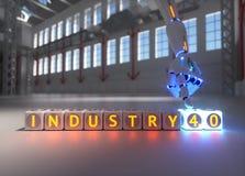 La mano del robot del Cyborg muestra la industria 4 0 muestras - concepto del ai foto de archivo libre de regalías