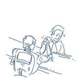 La mano del robot e dell'essere umano nell'azione della lotta di braccio di ferro sopra lo schizzo bianco del fondo scarabocchia royalty illustrazione gratis