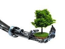 La mano del robot guarda el árbol en el fondo blanco stock de ilustración