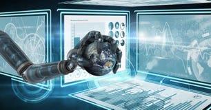 La mano del robot que obra recíprocamente con el interfaz de la tecnología artesona sostener el globo del mundo Foto de archivo libre de regalías