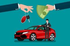 La mano del ` s del commerciante di automobile fa uno scambio fra l'automobile ed i soldi del ` s del cliente Fotografia Stock