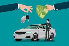 La mano del ` s del commerciante di automobile fa uno scambio fra l'automobile ed i soldi del ` s del cliente Fotografia Stock Libera da Diritti