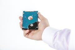 La mano del ` s del hombre sostiene 2 disco duro de 5 pulgadas Imagen de archivo
