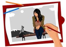 La mano del ` s dell'artista disegna una ragazza triste con un gatto, essi si siede su un banco Fotografia Stock