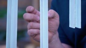 La mano del ` s del hombre golpea en las tiras de cristal de un diapasón almacen de metraje de vídeo