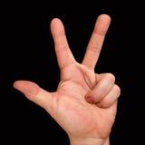 La mano del ` s del hombre muestra tres fingeres Cuenta hasta tres Foto de archivo