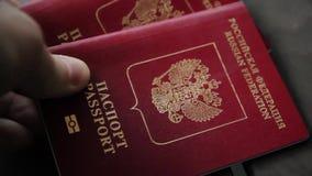 La mano del ` s del hombre pone dos pasaportes internacionales primer
