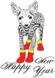 La mano del terrier de juguete dibujada bosquejó el illustation Gráfico del garabato Imagenes de archivo