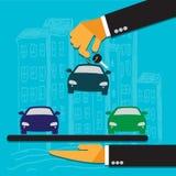 La mano del vendedor lleva a cabo la llave para el coche y da al comprador stock de ilustración