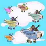 La mano dell'aeroplano attinge il cielo blu Immagini Stock