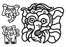La mano dell'elefante scrive il vettore di logo dell'emblema Immagine Stock Libera da Diritti