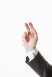 La mano dell'uomo d'affari che mostra gesto di commiato Fotografie Stock