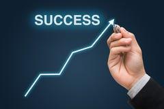 La mano dell'uomo d'affari disegna il concetto del grafico di successo di affari Fotografia Stock