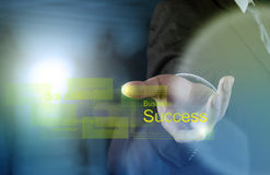 La mano dell'uomo d'affari disegna il successo di affari fotografie stock