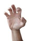 La mano dell'uomo raggiunge fuori isolato immagini stock