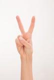 La mano della donna che esprime successo Fotografia Stock Libera da Diritti