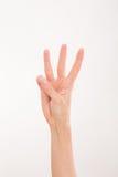 La mano della donna che rappresenta tre dita Fotografie Stock Libere da Diritti