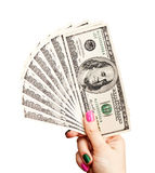 La mano della donna che tiene 100 banconote del dollaro americano Immagini Stock Libere da Diritti