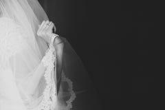 La mano della sposa che tiene il velo Immagine Stock