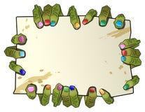 La mano delle barrette delle zombie tiene una tabella per testo illustrazione di stock