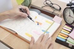 La mano di affari scrive la riunione del pianificatore del calendario sull'ufficio dello scrittorio Fotografie Stock