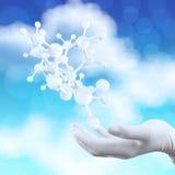 La mano di medico dello scienziato giudica 3d virtuale molecolare Fotografia Stock