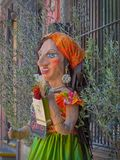 La mano di Mojiganga ha elaborato la statua fuori del ristorante italiano in San Miguel de Allende Fotografia Stock