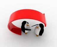la mano di offerta del pinguino 3d per la stretta di mano sotto ricicla il concetto della freccia Immagine Stock