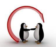 la mano di offerta del pinguino 3d per la stretta di mano sotto ricicla il concetto della freccia Fotografia Stock