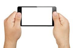 La mano di Smartphone passa giudicare lo schermo in bianco isolato Fotografie Stock