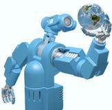 La mano di tecnologia di scienza del robot tiene il globo della terra Fotografia Stock