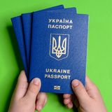 La mano di un adolescente tiene i precedenti biometrici ucraini di verde del passaporto immagini stock
