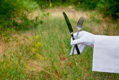 La mano di un cameriere in un guanto bianco tiene una forcella e un coltello sulla natura Fotografia Stock