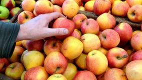 La mano di un uomo seleziona le mele in una finestra del negozio, frutta e le verdure si trovano merci nel carrello stock footage