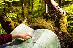 La mano di una ragazza indica una mappa nella foresta, concetto del viaggio nel selvaggio, copia lo spazio fotografia stock