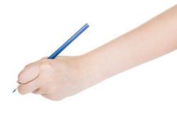 La mano dibuja cerca se corrige aislado en blanco Imagen de archivo