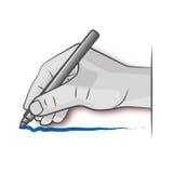 La mano dibuja con una pluma Foto de archivo libre de regalías