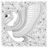 La mano dibujada adornó el cisne Imagen para los libros de colorear adultos, página Fotografía de archivo