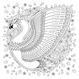 La mano dibujada adornó el cisne Imagen para los libros de colorear adultos, página Fotografía de archivo libre de regalías