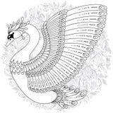 La mano dibujada adornó el cisne Imagen para los libros de colorear adultos, página Fotos de archivo libres de regalías