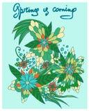 La mano dibujada garabatea las flores Foto de archivo libre de regalías