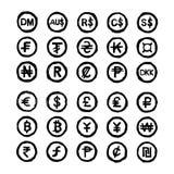 La mano dibujada garabatea símbolos de moneda internacionales stock de ilustración