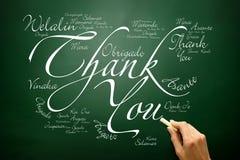 La mano dibujada le agradece tarjeta de felicitación de las letras en muchas idiomas, Fotografía de archivo libre de regalías