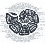 La mano dibujada texturizó la etiqueta del vintage con el ejemplo del vector de la concha marina libre illustration