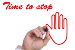 La mano disegna il tempo di simbolo della mano di fermare il concetto Immagine Stock Libera da Diritti