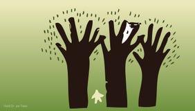La mano dissipa gli alberi e l'ambiente 5 Immagine Stock