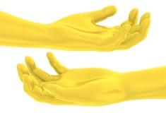 la mano dorata 3D dà il gesto liberale Fotografie Stock Libere da Diritti