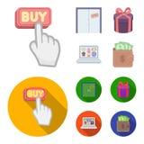 La mano, el tecleo, el elevador, el regalo, la caja, la puerta, la tienda en línea y el otro equipo Iconos determinados de la col stock de ilustración
