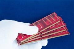 La mano en el guante blanco sostiene una tarjeta de la memoria de computadora Imagen de archivo libre de regalías